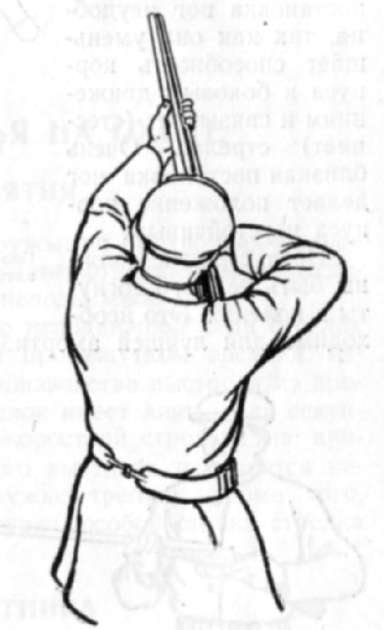 Такой вид стрелка caepxv с приложенным к плечу ружьем