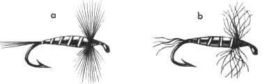 Рис. 67. Качество искусственной мушки: а - качественная; b - некачественная.