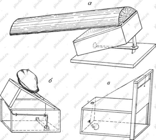 Схемы ящичных живоловушек: а